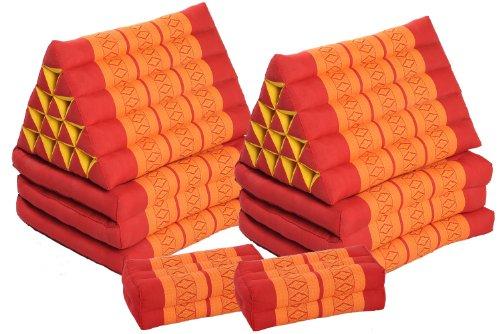 Doppelset: 2 x Thaikissen mit besonders großem Dreieck und 3 Auflagen 175x55 + 2 Meditationskissen 35x15x10 rot-orange Kissen mit Füllung aus Kapok, Bodenkissen von Handelsturm