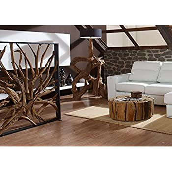 Raumteiler Mahagoni natur Holz GEORGE | Paravent rustikal