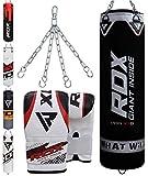 RDX Sacco da Boxe Pieno Arti Marziali MMA Sacchi Pugilato Muay Thai Kick Boxing con Guantoni Allenamento Catena Gancio Soffitto 4FT 5FT Punching Bag Set