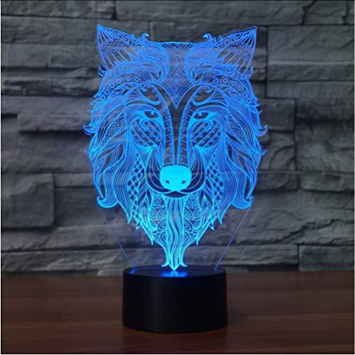 Zlxzlx 3D Led 7 Farbwechsel Usb Abstrakte Stammes Wolf Kopf Modellierung Atmosphäre Schreibtischlampe Wohnkultur Geschenke Beleuchtung Tier Nachtlicht