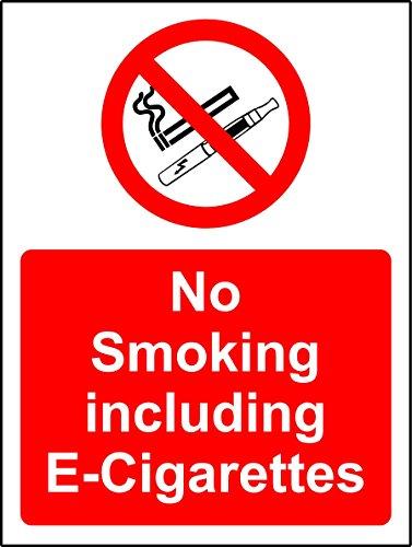 """Hinweisschild, Rauchen-Verboten-Schild mit englischsprachiger Aufschrift """"No Smoking including E-Cigarettes"""", 1,2 mm starkes Hartplastik, 300 mm x 200 mm"""