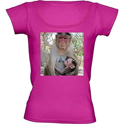 Camiseta Cuello Redondo para Mujer - Animales Mamíferos Mono Del Bebé by Grab My Art