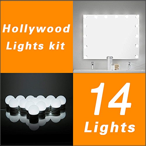 Luces LED Para Espejo WanEway, Estilo Hollywood, Kit De Luces Para Maquillaje Cosmético, Con Regulador De Intensidad Y Fuente De Poder, 14 bombillas LED, Espejo No Incluido