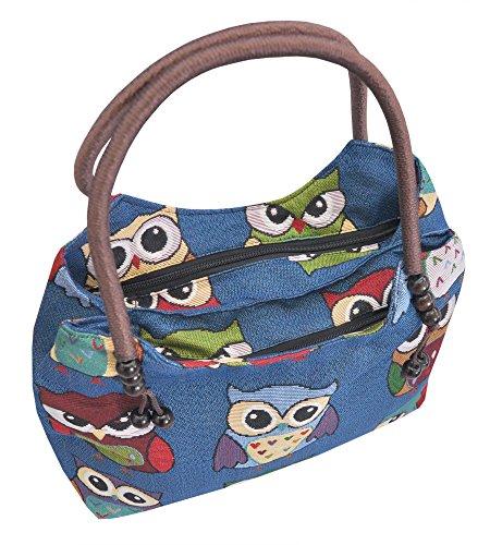 Tasche Handtasche Henkeltasche ***EULE*** Shoppertasche Schultertasche Eulenmotiv Umhängetasche - verschiedene Motive erhältlich - VINTAGE LOOK / absolut cool und stylish 42254