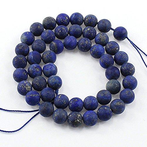 Edelstein Perlen 8mm und 6mm Matt Schmuckstein * A Grade * Kugel Halbedelstein Edelsteine Frosted Gemstone Beads Auswahl (Lapislazuli, 6mm) -