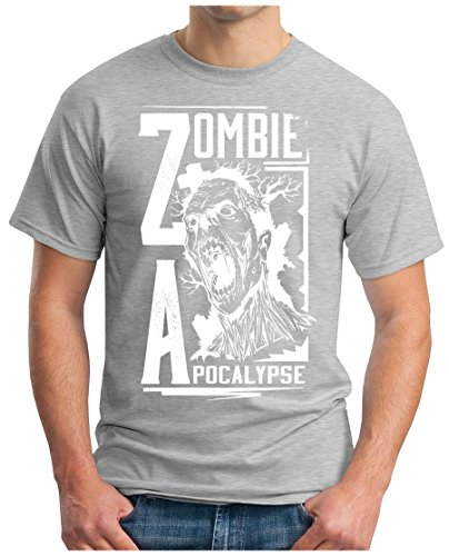 OM3 - Zombie-Apocalypse - T-Shirt Horror Movie Breaking Apocalypse 2012 Bad DOPE Geek, 5XL, Grau Meliert Dixon Vintage-print