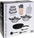 hibuy Juego de Cocina - 18 Piezas - Equipamiento Inicial para la Cocina/Juego de Cocina - Olla, sartén, Cuchillo, sartenes