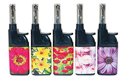Fzg Stabfeuerzeug 10,5cm Motiv Blumen 5er Pack Leichtbedienung Seniorengerecht Anzünder BBQ