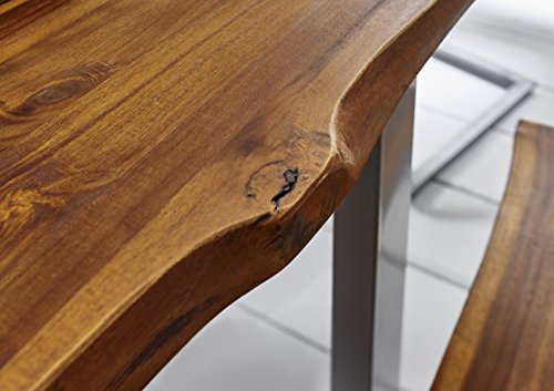 SAM® Stilvoller Esszimmertisch Ida aus Akazie-Holz, Baumkantentisch mit lackierten Beinen aus Roheisen, naturbelassene Optik mit Einer Baumkanten-Tischplatte, 180 x 90 cm - 5