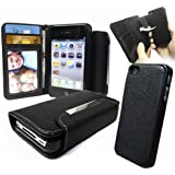 Love My Case Étui type portefeuille en cuir pour Apple iPhone 4 et 4S Avec coque rigide amovible (Noir)