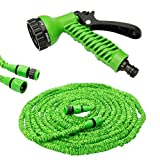 #3: VelVeeta 50ft Longest and Strongest Flexible Expandable Magic Garden Hose and 7-pattern Spray Nozzle and Shut-off Valve and Universal Water Hose Connectors , Expands to 3 Times It's Original Length, Shrinking Hose, DAP Xhose,water Garden, Plants, Grass, No Tangle, Twist, Kink, Expands and Contracts, Auto, Car, Boat, Dock (Colour May Vary)