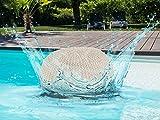 Outdoor-Pouf Sitzpouf Sitzpuff 100% Wasserfest Grobstrick-Optik Ø 55 cm extrahoch Höhe 37 cm Farbe Beige