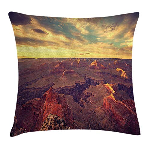 House Decor Throw Pillow Cushion Cover by, Vintage Retro Photo of Grand Canyon Top Tourist Destination Mountains View Image, Decorative Square Accent Pillow Case, 18 X 18 Inches, Tan Brown