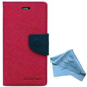 Cubezap Mercury Diary Card Wallet Flip Cover Back Case For Samsung Galaxy J3 - Pink Blue