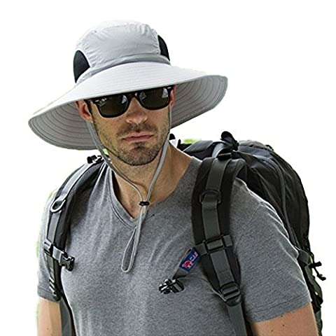 Men's Outdoor Wide Brim Hat Boonie Sunscreen Hat Mesh Bucket Hat for Travel Camping Hiking Fishing Hunting Boating Safari Cap with Adjustable Drawstring (Light