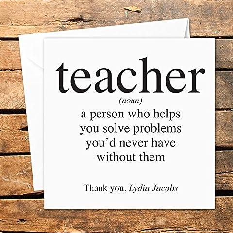Personalisierte Lehrer/Kinderzimmer Thank You Karte Noun Wörterbuch Thesaurus