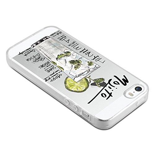 Coque iPhone SE Coque iPhone 5 5s coque silicone transparente | JammyLizard | Edition Limitée Noel - Coque transparente silicone pour iPhone SE et iPhone 5 5s, Kombi Van VW - Surfeur SUMMER - RECETTE DU MOJITO