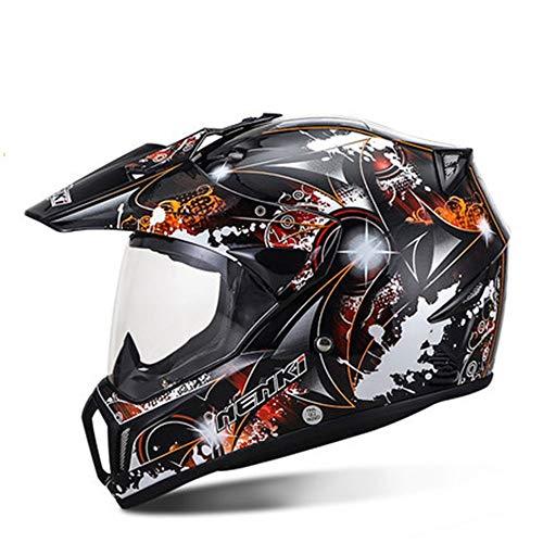 AmzGxp Racing Off-Road-Helm Persönlichkeit Graffiti-Muster Herren Full Cover Open Face Helm Outdoor Sports Motorrad Reiten Full Face Helm Vier Jahreszeiten Gemütlich (Farbe : Orange, Size : XL)
