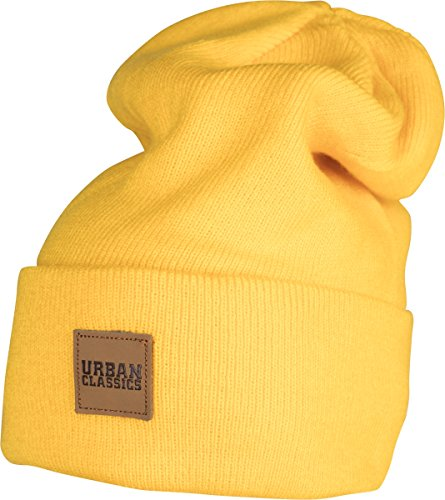 Urban Classics TB626 Unisex Strickmütze Leatherpatch Long Beanie Chrome Yellow, One Size (Herstellergröße: one size)