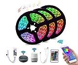 Madeb Smart Striscia LED, 15M 5050 RGB Impermeabile WIFI Compatibile Musica Colore Kit Adatto per Giardino, Bar, Festa, Ecc