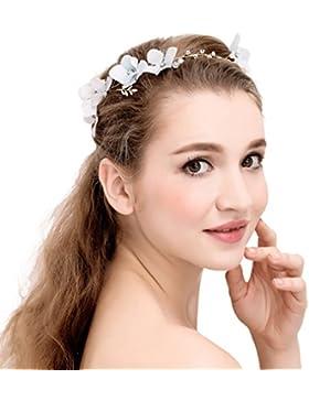 YAZILIND tocado belleza nupcial diadema blanca flor rhinestones aleaci¨®n de pelo de la boda accesorios fiesta...