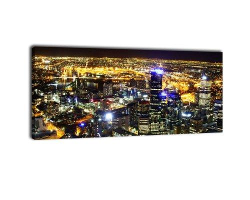 Leinwandbild Panorama Nr. 160 Melbourne 100x40cm, Keilrahmenbild, Bild auf Leinwand, Australien City Skyline