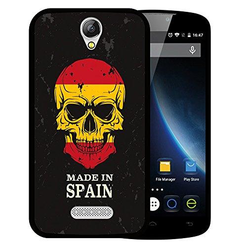WoowCase Doogee X6 - X6 Pro Hülle, Handyhülle Silikon für [ Doogee X6 - X6 Pro ] Totenkopf Fahne Made in Spain Handytasche Handy Cover Case Schutzhülle Flexible TPU - Schwarz