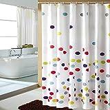 KUSUN Wasserabweisender Stoff-Duschvorhang waschbar Anti-Schimmel 180 x 200cm 100 % Polyester Einfache bunte Tupfen Muster B001-200