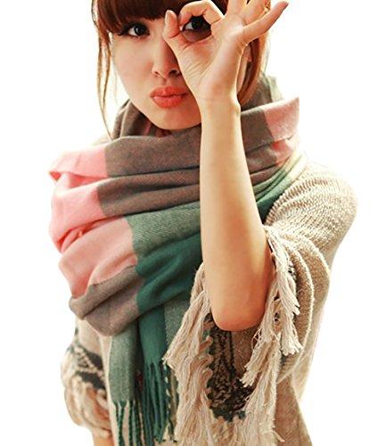 LAI MENG Sciarpa Donna Inverno , donna inverno scialle maglione cappotto Girl grandi Tartan Wrap Maglia Scialle Inverno Donna, Poncho Donna Invernale Stola Pashmina per Donna 200cm x60cm