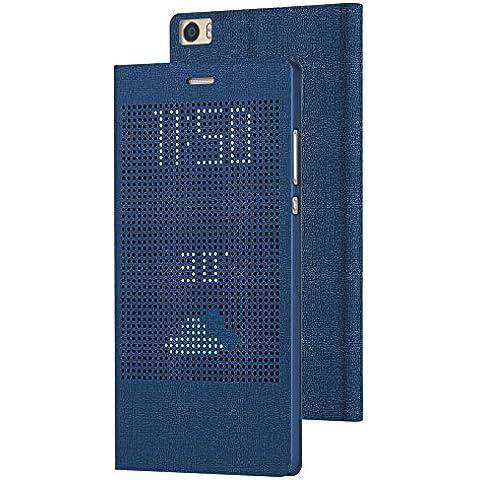 ROSON®, 2016 nuovo moda Ultra sottile Dot retrò Flip Custodia per Huawei P8 MAX (BLUE)