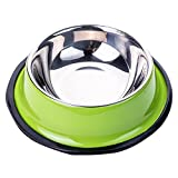 Pet bowl Haustierschüssel Hundeschüssel Hundefutterschüssel Katzenschüssel Katzenfutterschüssel Haustierschüssel Hundeschüssel Edelstahl (Farbe : Green, Größe : 26 * 5.5cm)
