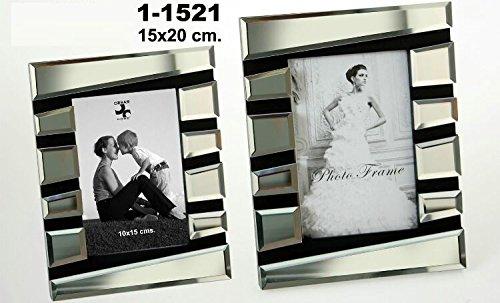 DonRegaloWeb-Portafotos decorato con specchi in stile moderno, 15x 20cm