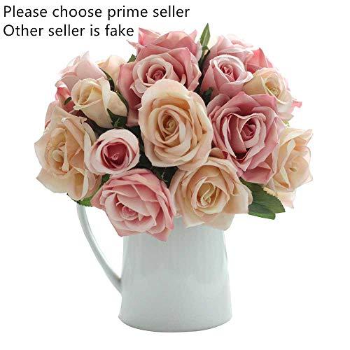 Flores Artificiales Decoración Rosas Plásticas de Seda 9 Cabezas Ramo Nupcial de la Boda para el Hogar Fiesta (Champán Rosado)
