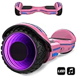 MARKBOARD Hover Scooter Board, Elektro Scooter 6,5 LED E-Balance E-Skateboard Elektroroller Bluetooth LED (LED Rosa)