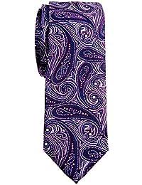 "Retreez Elegant Paisley Art Pattern Woven Microfiber 2"" Skinny Tie"