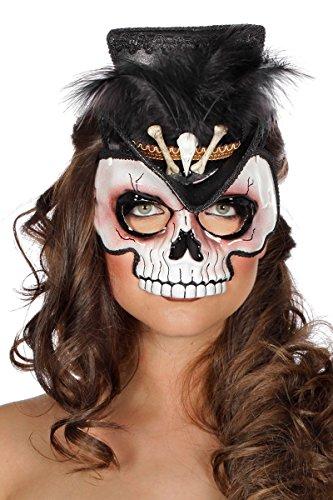 Voodoomaske Halbmaske Knochen Schädel Halloween Hut Minihut Feder ()