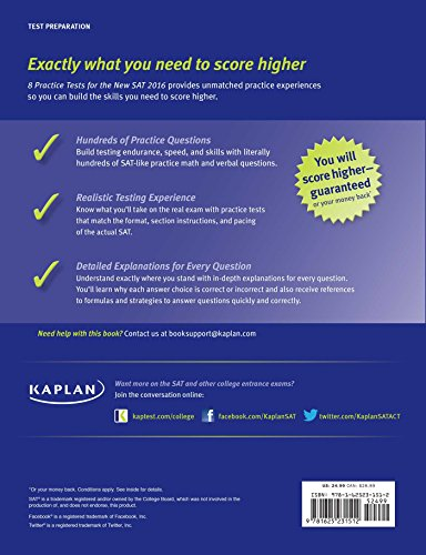 8 PRACTICE TESTS NEW SAT 2016 (Kaplan Test Prep)