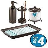 mDesign Juego de 4 complementos de baño – Set con organizador de toallas, tarro de cristal, portacepillos y dosificador de jabón – Accesorios de baño para el lavabo – bronce/transparente