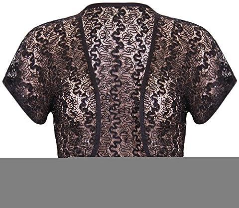 Womens Short Cap Sleeve Ladies Sequin Lace Front Open Shrug Cardigan Bolero Cropped Top Plus Size Black Size