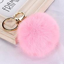 Cute Fashion pelo sintético pompón bola colgante llavero llavero (rosa)
