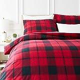 AmazonBasics Parure de lit avec housse de couette en flanelle 200 x 200 cm/65 x 65 cm x 2, Plaid rouge