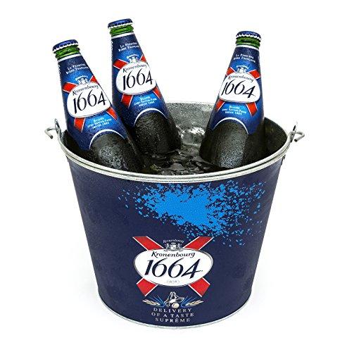 Kronenbourg 1664Ice Bucket Metall Marken Offizielles Party Neue offizielle 8Flasche Griff