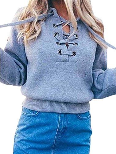 One-shoulder Kimono Top (Pullover Damen V-Ausschnitt Langarm Strickpullover Frauen Volltonfarbe Kordelzug Oberteile Strickwaren Tops (S, Grau))