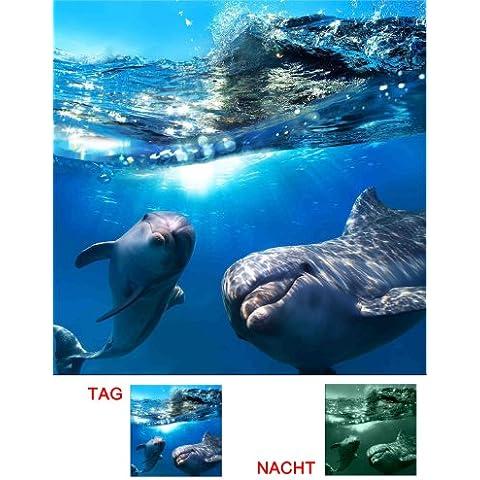 Startonight Stampa su tela che si illumina al buio, motivo due delfini, 60 cm x 60 cm