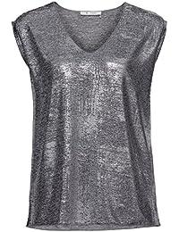 MONARI Shirt Lackdruck  Oversized-Form  V-Ausschnitt  Jersey  Silber 4315da2156