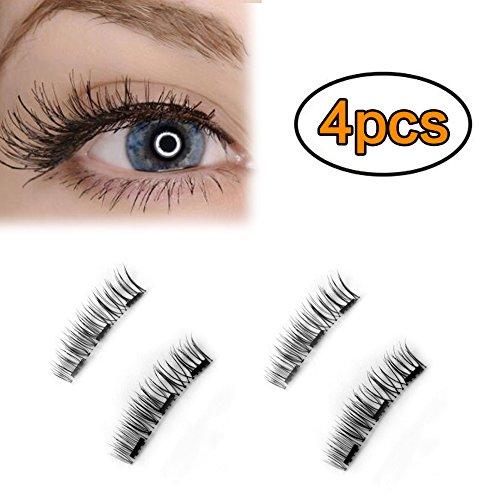 Mojidecor 1 paio/4 pz magnetiche finte ciglia lunghe copertura piena per occhi effetto naturale 3d ciglia artificiali riutilizzabili con 3 magneti creano occhi affascinanti (stile quotidiano)