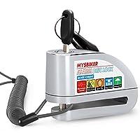MysBiker Candado de Disco con Alarma Antirrobo Moto 6mm 110dB Dispositivos Antirrobo para Motos Bicicletas,Bloqueo de Disco 1.5 M, Candado Bloqueo con Alarma para Moto Motocicleta