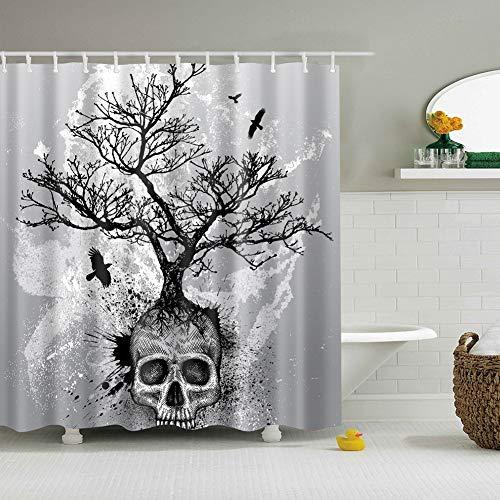 XHWL767 Grauer Hintergrund 1 Schädel wächst heraus 1 schwarzer großer Baum fliegt in den Himmel mit Vögeln Feuchtigkeitsbeständiger Mehltau Badezimmerzubehör 180x180cm + 12 Haken - Meer Duschvorhang-sets