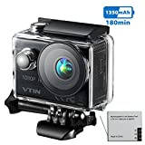Action Sport-Kamera, VTIN Full HD 1080P 2,0 Zoll Action Cam 170 Ultra-Weitwinkel Wasserdicht Action Kamera Unterwasserkamera Helmkamera mit 1350mAh Akku für Radfahren Schwimmen Klettern Tauchen