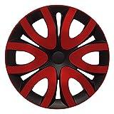(Größe wählbar) 15 Zoll Radkappen / Radzierblenden MIKA Schwarz/Rot passend für fast alle Fahrzeugtypen – universal